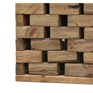 Bout de canapé carré en pin recyclé - style esprit montagne rustique - Collection CHALET