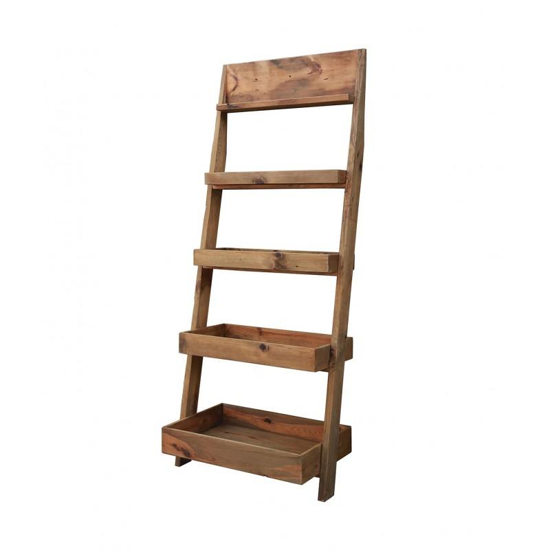 Bibliothèque échelle en pin recyclé - rangement style esprit montagne rustique - Collection CHALET