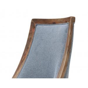 Chaise tissu gris en pin recyclé - style esprit montagne rustique - Collection CHALET