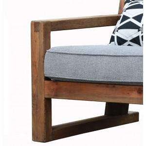 Fauteuil tissu gris en pin recyclé - style esprit montagne rustique - Collection CHALET