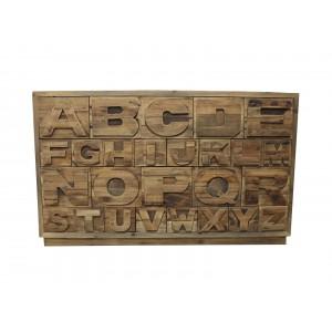 Commode alphabet 26 tiroirs en pin massif recyclé - style industriel factory -  Collection Héritage
