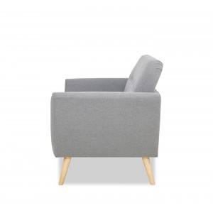 Canapé 2 places scandinave en tissu GRIS - confortable et  cosy  - SPRING