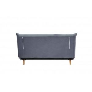 Banquette convertible lit 2 places en tissu velours gris style scandinave - COSMO