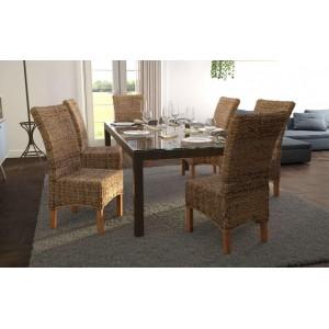 LOT 2 Chaises de salle à manger tressées en abaca naturel - style osier kubu exotique classique chic - BORNEO
