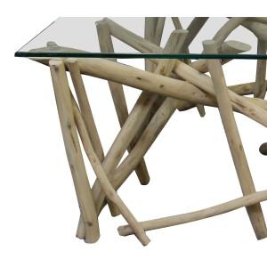table basse rectangulaire branches de teck et plateau verre - design exotique chic bord de mer - JAVA