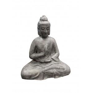Buddha assis gris en terre cuite posture de méditation - statue décoration zen exotique - NIRVANA