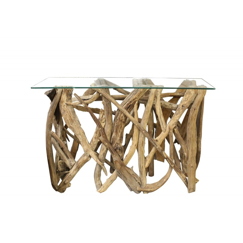 Console rectangulaire en teck et plateau en verre - design exotique chic bord de mer - SAMSARA