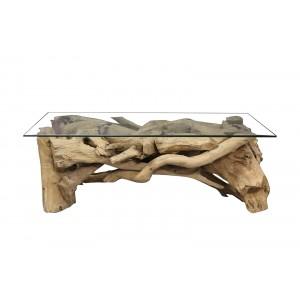 table basse rectangulaire 120 cm en teck et plateau en verre - design exotique chic bord de mer - PONDICHERY