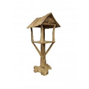 Abris maisonnette pour oiseaux en teck - déco jardin terrasse bois - HOUSE