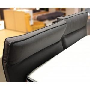 LIT double 160 x 200 tissu gris anthracite- tête de lit réglable - design chic & tendance - ORION