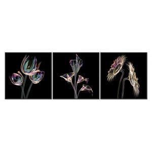 Tableau triptyque design abstrait en verre Acrylique - Décoration murale contemporain - LIGHT
