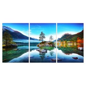 Tableau triptyque photographique en verre Acrylique - Décoration murale paysage naturel - HALLSTATT