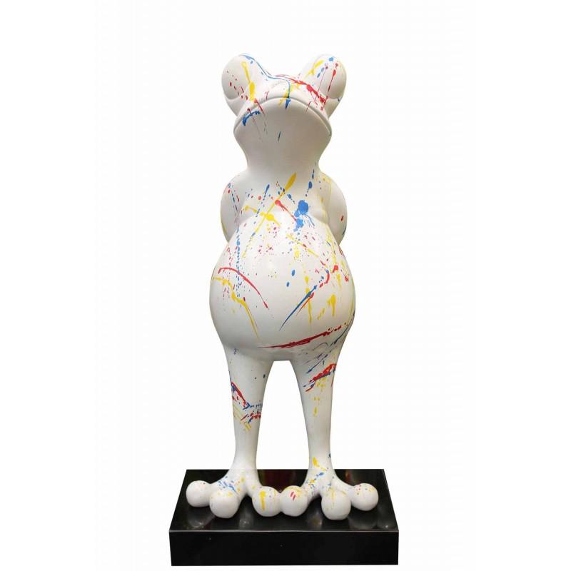 Sculpture grenouille 68 cm blanche mate multicolore - FROGGY