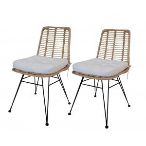 LOT 2 Chaises en rotin naturel - KANDY