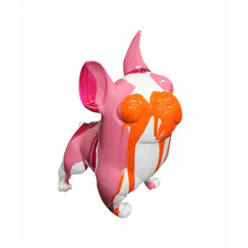 Sculpture dog décoration rose orange  - objet décoratif chien en résine et peinture laquée - MINIDOGGY