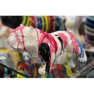 Sculpture dog décoration blanc multicolore  - objet décoratif chien en résine et peinture laquée - BULLDOG