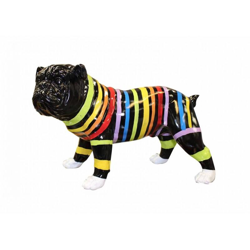 Sculpture chien noir décoration rayures multicolore  - objet décoratif dog en résine et peinture laquée - STRIPE DOG