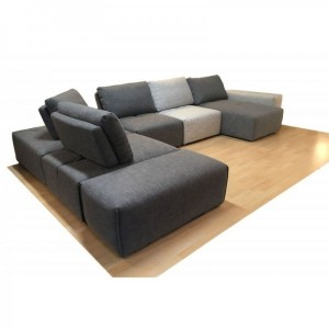 Méridienne en tissu gris anthracite - module pour canapé composable - Style contemporain -  MODULO