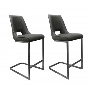 Lot 2 Tabourets de bar gris anthracite tissu toucher doux - Qualité Ultra Confort - design contemporain - RIVOLI