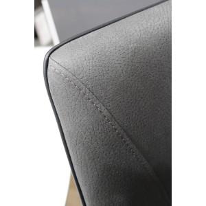 Lot 2 Tabourets de bar gris anthracite tissu toucher doux - Qualité Ultra Confort - design contemporain - RIVOLI