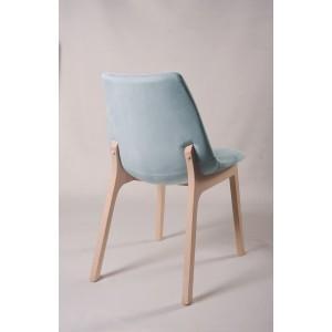 Lot 2 chaises velours gris bleu clair confortable - pieds bois hêtre - design contemporain scandinave - SIENA