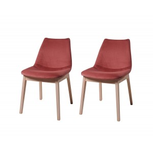 Lot 2 chaises velours rose confortable - pieds bois hêtre - design contemporain scandinave - SIENA