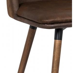 Lot 2 Chaises marrons simili effet veilli usé design vintage - piétement bois - DUKE