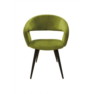 Fauteuil design tissu vert toucher doux confortable - pieds métal noir - ATLANTA