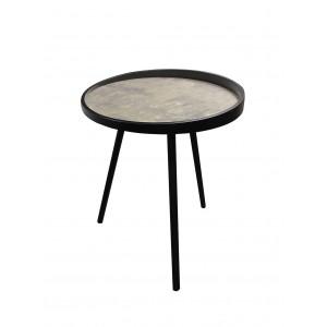 table basse ronde décor effet béton et pieds métal - design industriel - KIO/L