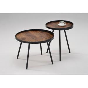 table basse ronde décor effet bois de chêne et pieds métal - design industriel - KAP/L