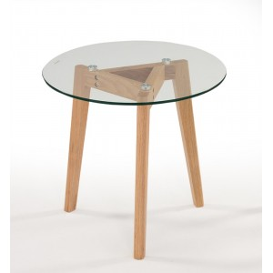 Table basse ronde en verre transparent et bois, bout de canapé, table de chevet - design scandinave - LANA