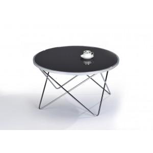 Table basse ronde en verre  noir et acier chromé - design contemporain - XENA