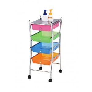 Chariot avec roulettes multicolore et acier chromé - desserte mobile 4 tiroirs - FLOX