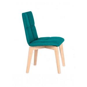 Lot 2 CHAISE scandinave tissu bleu turquoise robuste - pieds bois clair - LEA