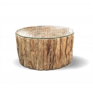 Table basse ronde en teck avec plateau en verre transparent - design exotique cabane chic - COMPORTA