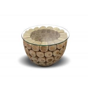 Table basse ronde en teck avec plateau en verre transparent - design exotique cabane chic - KONTIKI