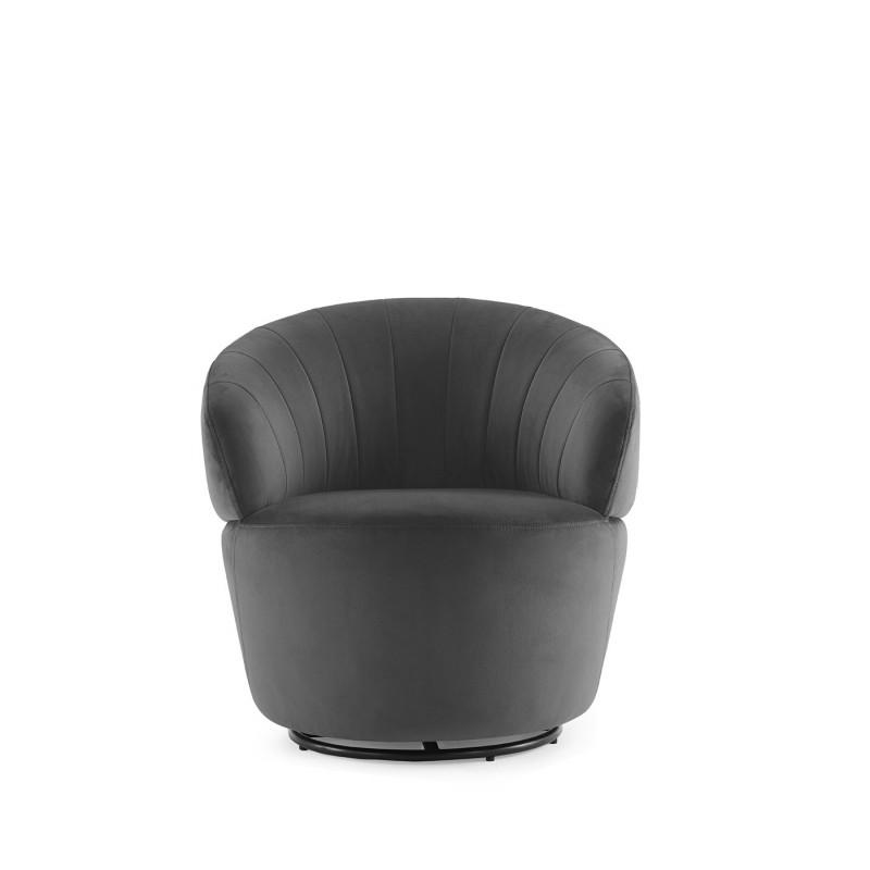 Fauteuil en tissu velours gris pivotant ultra confortable - design contemporain lounge  - COROLLA
