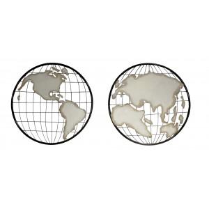 Cartes du monde, deux cercles mappemonde, décoration murale en métal noir et beige - WORLD
