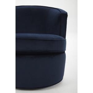 Fauteuil en tissu velours bleu marine pivotant Qualité & Confort - design lounge contemporain - SOPHIA