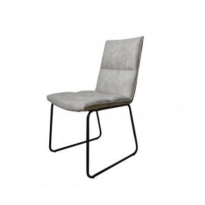 Lot de 2 Chaises simili beige gris confortable, piétement métal style luge noir - design contemporain - ZIA