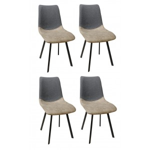 Lot de 4 chaises scandinave bi matière gris beige pieds métal  - design industriel contemporain - KANSAS