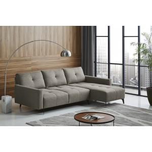 Canapé d'angle droit tissu gris dossiers réglables - design contemporain vintage - SMART