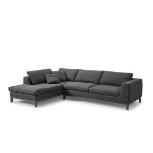 Canapé d'angle gauche tissu gris garnissage plume ultra confortable - Collection Nature & Confort Premium - PLUMETI