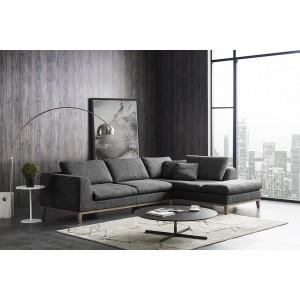 Canapé d'angle droit tissu gris garnissage plume ultra confortable - Collection Nature & Confort Premium - PLUMETI