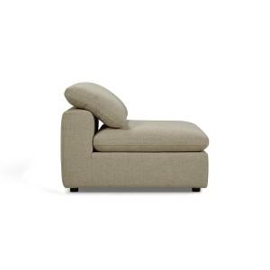 Module Chauffeuse tissu beige pour canapé composable garnissage plume - Collection Nature & Confort Premium - NUAGE