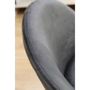 Lot de 4 Chaises gris velours et pieds métal noirs - FARA