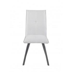 Lot de 2 Chaises tissu blanc gris et pieds métal gris ultra confortable - design contemporain - ARIA