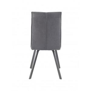 Lot de 2 Chaises tissu gris et pieds métal gris ultra confortable - design contemporain - ARIA