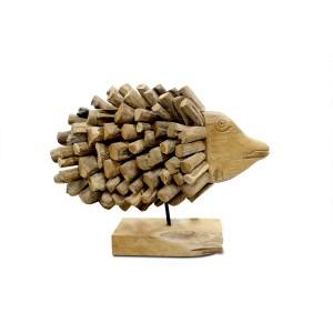 Poisson en teck sculpture décorative, œuvre artisanale exotique - ANGEL FISH