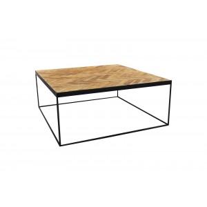 Table basse carré en teck décor chevron et piétement métal - design classique chic & industriel - ANNA/M